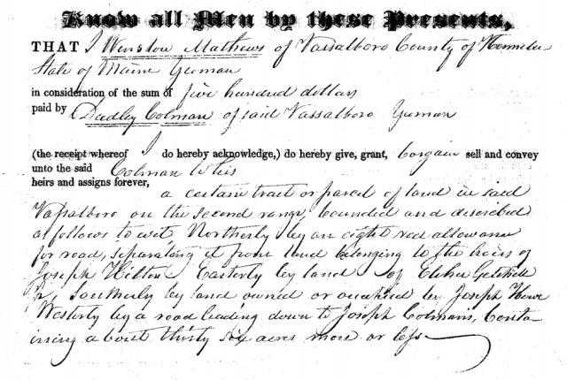 1826 Dudley Coleman Land Purchase Vassalboro, Maine