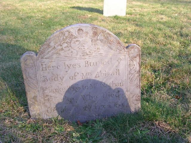 Abigail Hedge Clarke Gravestone - Old Burying Ground  Brewster  Source: Find A Grave Memorial# 45657063