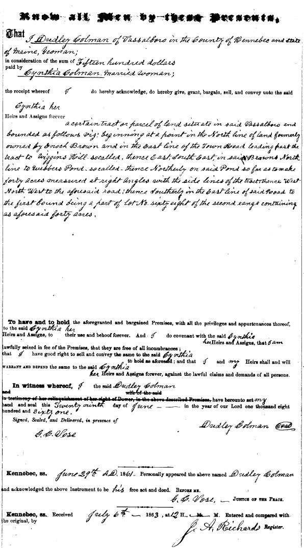 1861 - Dudley Colman to Cynthia Colman