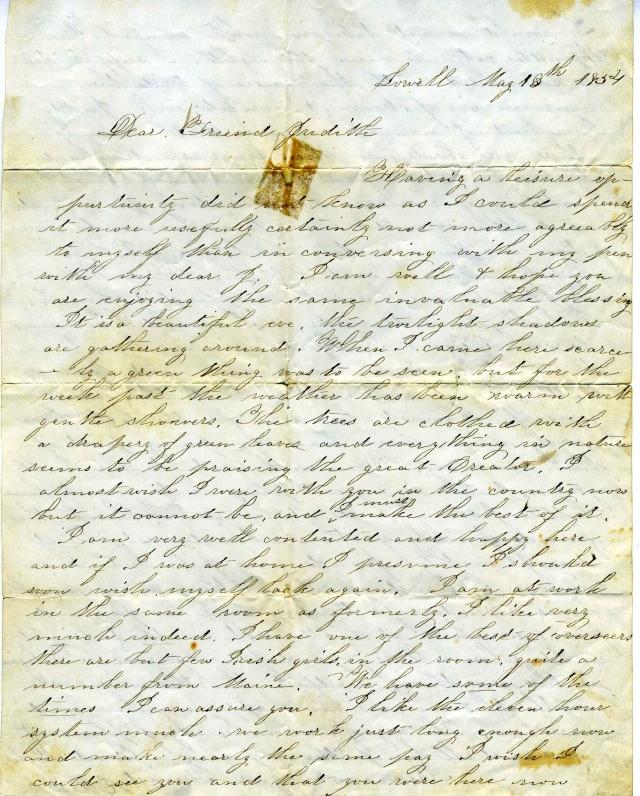 Ellen Coleman letter 1854 a