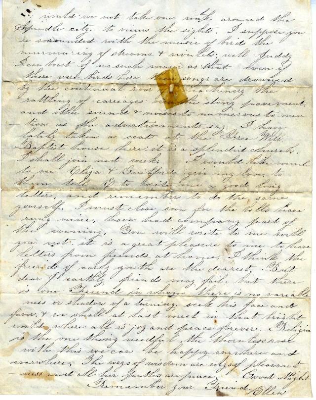 Ellen Coleman letter 1854 b