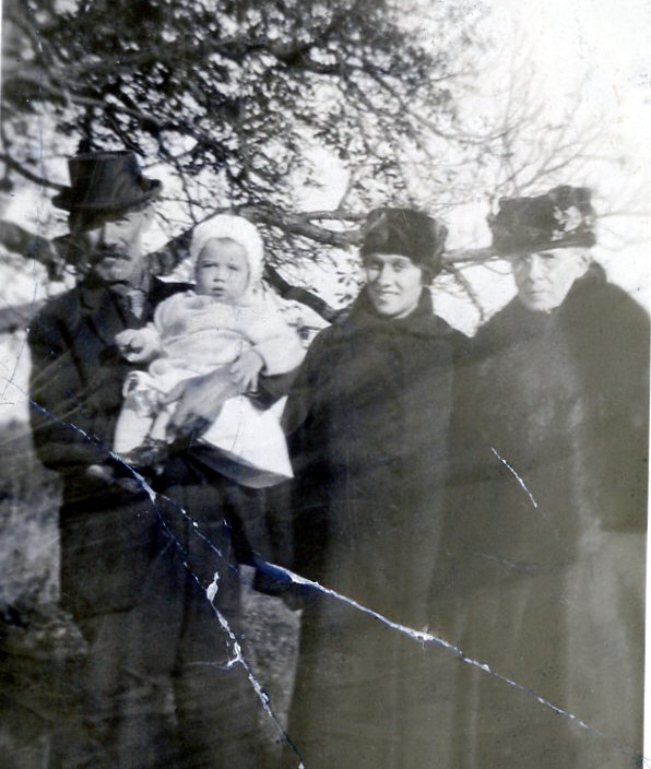 Four Generations:  Jesse Gilbert with his grandson Minard Lyman Gray   1918 - 2002 , daughter Gladys Claire Gilbert   1900 - 1987  and mother Elvira Brown Coleman   1845 - 1930
