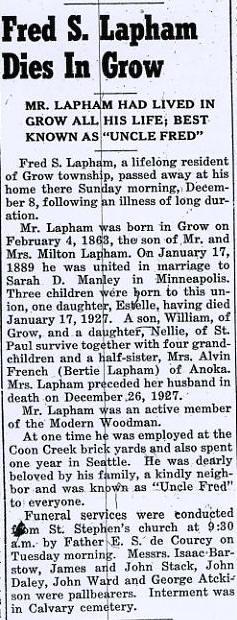 Fred S Lapham Obit Anoka Herald Dec 11 1940