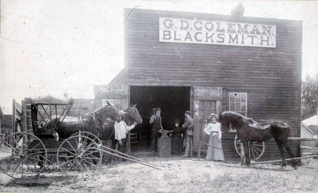 GD Coleman Blacksmith, Anoka, MN 1900 Unknown man, GD Coleman, Molly Woods Coleman, AH Russell, Lucy Coleman Russell and GD Coleman's favorite horse