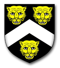 I found it!  Hayes of Little Leigh  -- Arms: Sable, a chevron Argent between three leopards' faces Or (Harl 1424)(In Harl 1505 the leopards' faces are Argent)