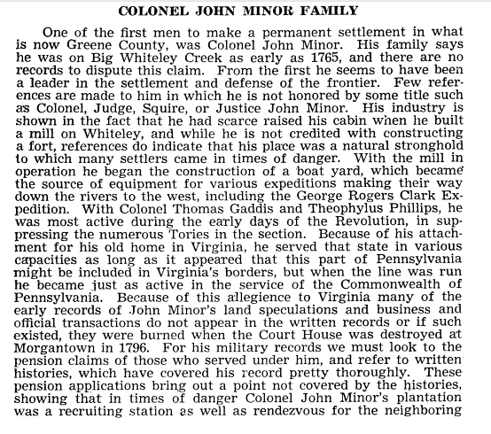 John Minor Bio - The Tenmile Country and Its Pioneer Families  By Howard L. Leckey, Leckey 1977