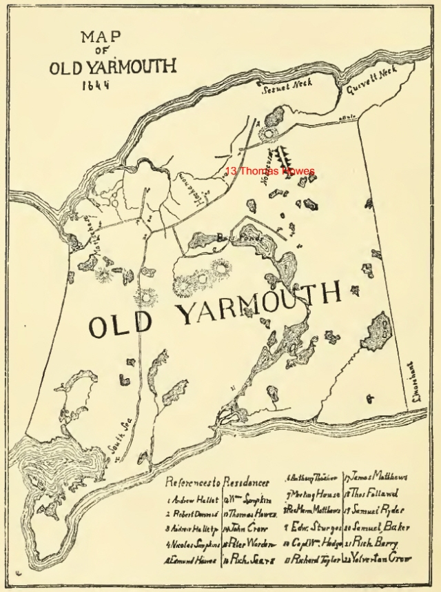 Map of Old Yarmouth 1644 - Our Ancestors 13 Thomas Howes, 5 Edmund Hawes, 10 Edward Sturges and 9 William Hedge were pioneers in Yarmouh, Mass on Cape Cod.  Unfortunately, I can't quite make out the numbers on this map. Do you have better eyes?