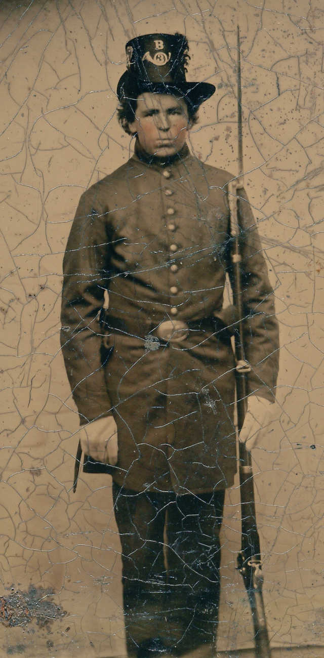 Pvt Herman S. Webber (1840-1862) Co. B, 3rd Maine Infantry, 1861 Courtesy Chuck Russell Find A Grave Memorial# 105998579