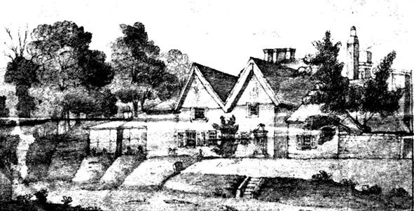 The Grammar School (now Malvern House) drawn in about 1830 by John Burton, a boarder in the early 19th century
