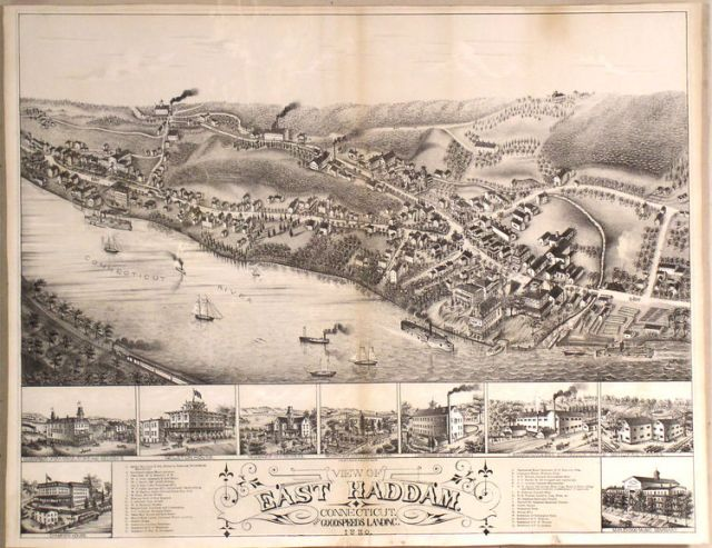 View of East Haddam. Connecticut and Goodspeed's Landing Connecticut River 1880