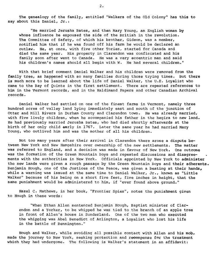 Daniel Walker 2 - Dr. H.C. Burleigh Essay – Lennox & Addington Historical Society