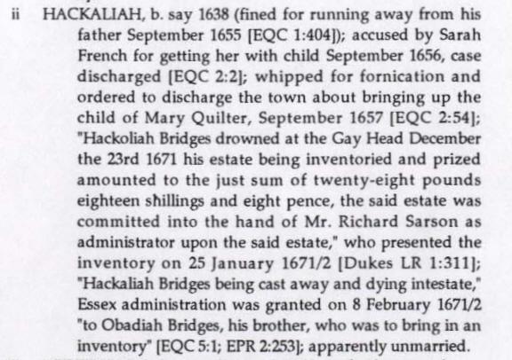 Hackaliah Bridges bio - Great Migration Study Project - NEGHS 1999