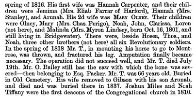 Noah Tiffany  -- History of Brooklyn, Susquehana, Pennsylvania - 1889