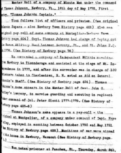 Thomas Johnson Revolutionary Service