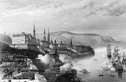 Battle of Quebec 1690 - The Batteries of Quebec bombard the New England fleet.
