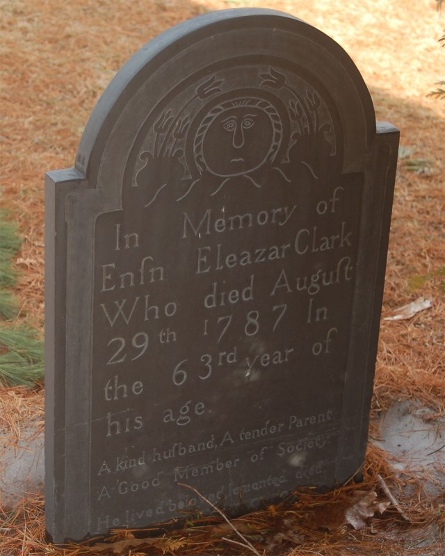 Eleazar Clark Gravestone -- Union Cemetery  Claremont, Sullivan, New Hampshire,  Find A Grave Memorial# 30301196