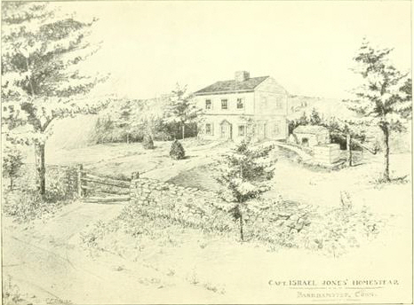 "Israel Jones Home  Illustration from ""History and Genealogy of the Ancestors and Descendants of Captain Israel Jones of Barkhamsted Connecticut"", 1902 by L.N. Parker"