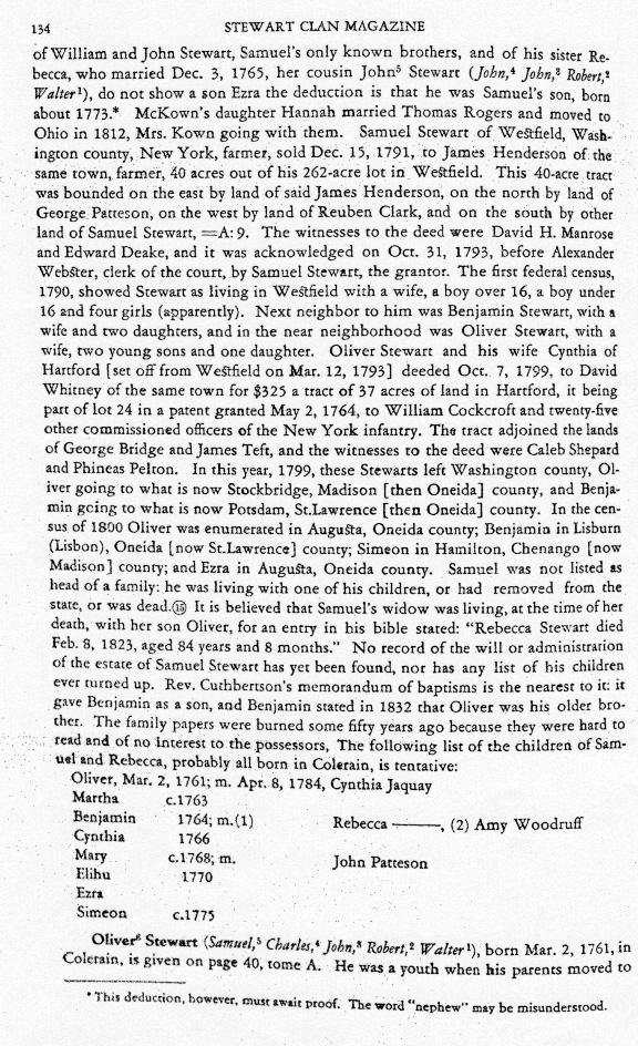 Oliver Stewart Stewart Clan Magazine Tome F Vol.XXXVIII, No.8 page 134 February 1951 Editor George Edson Olathe Kansas