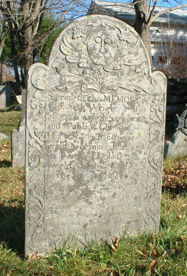 Seth Wright Gravestone -- Old Yard Cemetery,  Columbia, Tolland CT, Find A Grave Memorial# 36444984