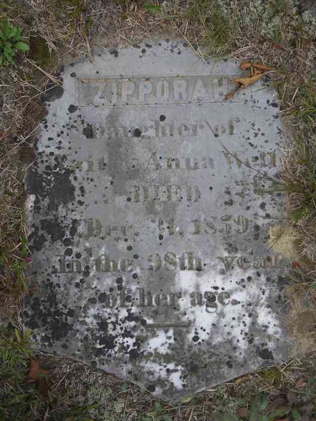 Zipporah Wells Gravestone  It appears she lived to 98 unmarried