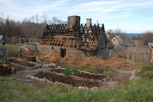 Francis Cooke's home in the recreated 1627 Plimoth Plantation burned in 2011
