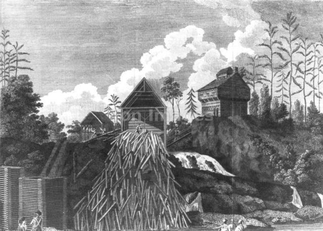 Battle of Fort Ann  -- A view of the saw-mill & block house upon Fort Anne Creek, the property of Genl. Skeene, which on Genl. Burgoyne's army advancing, was set fire to, by the Americans. Print shows a sawmill belonging to loyalist Philip Skene and the blockhouse at Fort Anne which were burned by American forces, reteating in advance of the British army under the command of General Burgoyne.