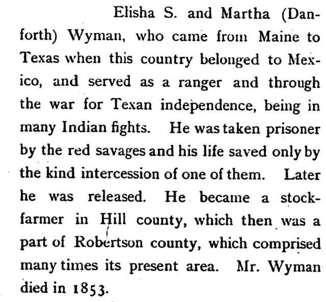 Thomas and Susana's son Elisha Wyman (1811 - 1853) was a pioneer of Texas.
