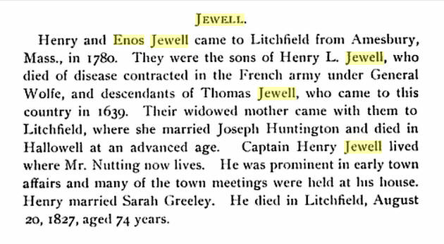 Henry Jewell Bio -  Source:  History of Litchfield and an Account of Its Centennial Celebrations, 1895