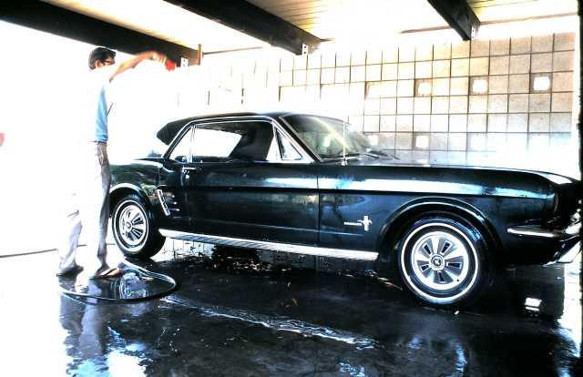 Dad washing his 1964 Mustang