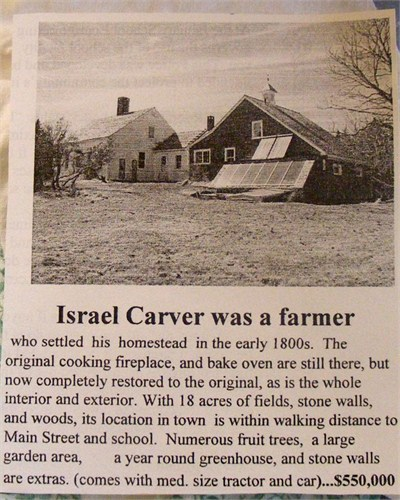 Israel Carver on Vinalhaven, Maine. Real Estate  --  From 2099 advertisement in 2009