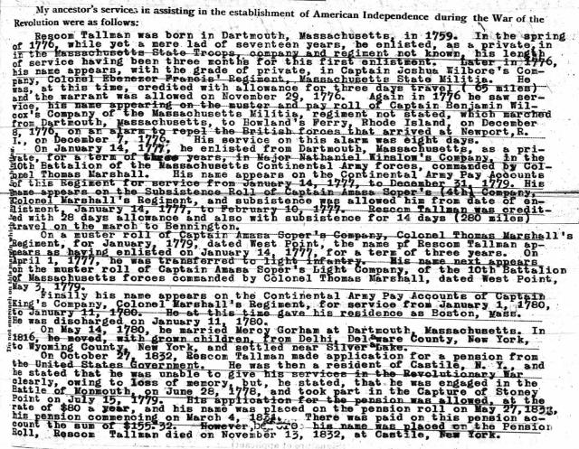 Rescom Tallman Revolutionary Service (1776 - 1780) - Sons of American Revolution Application