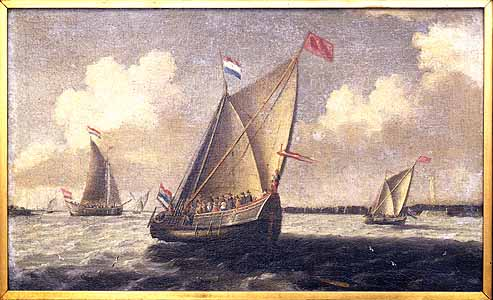 The ships shown in this seascape are the approximate size of the Pilgrims' ill-fated ship, the Speedwell. -- Ships in Harbor (Dutch seascape) By Abraham VerWer (1585-1650).