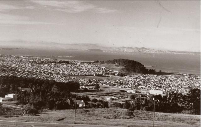 Looking Southeast toward El Cerrito High and Albany Hill 1945
