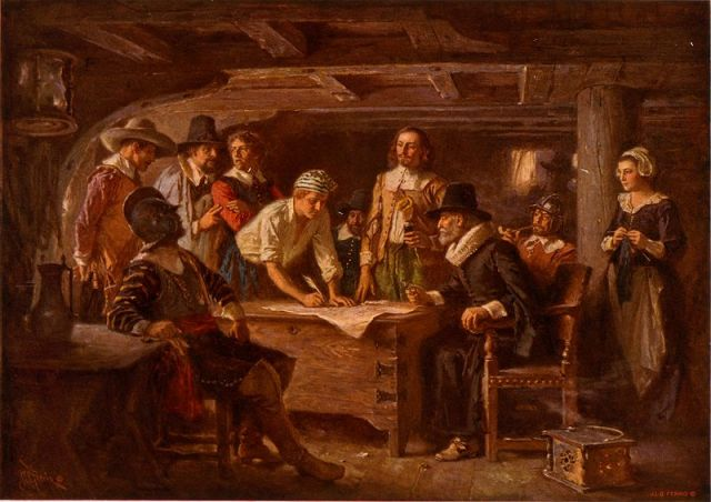 John Carver was the first to sign the Mayflower Compact  The Mayflower Compact, a painting by Jean Leon Gerome Ferris (1863-1930)