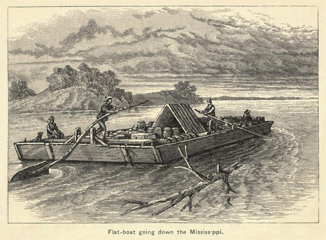 Flatboat going down the Mississippi