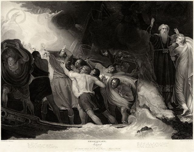 The shipwreck in Act I, Scene 1, in a 1797 engraving based on a painting by George Romney