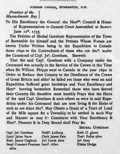 Shubal Gorham  Land Petition