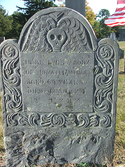Jonathan Hallet Gravestone --  Ancient Cemetery  Yarmouth Port -- Find A Grave Memorial# 57287429