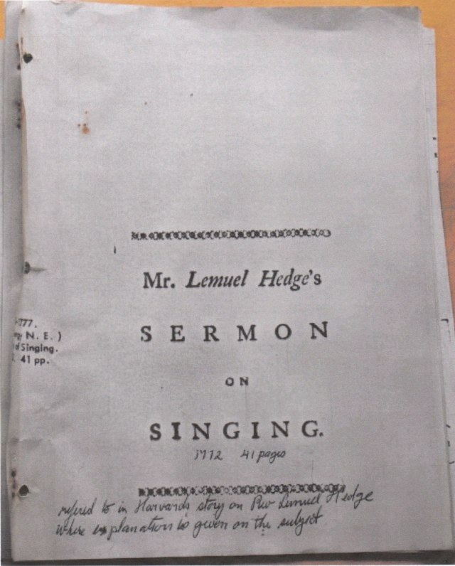41 page sermon delivered by Rev. Lemuel Hedge in 1772.