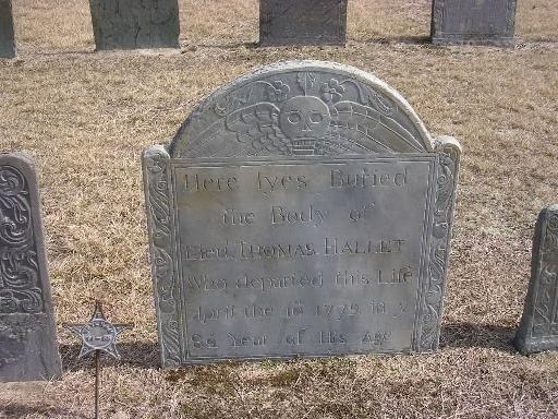 Lieut Thomas Hallet Gravestone --  Ancient Cemetery, Yarmouth Port -- Find A Grave Memorial# 35038609