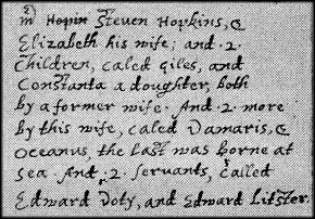 Page from Bradford's history listing the Hopkins family