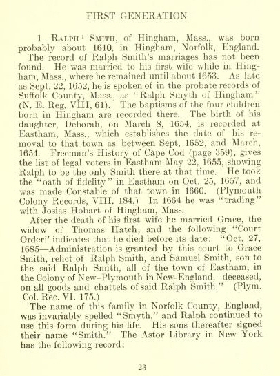 Ralph Smith Bio - Source: Jesse Smith Ancestry Book J Bertrand Smith 1909 page 23