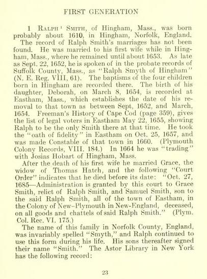 Ralph Smith Bio - Source: Jesse Smith Ancestry Book J Bertrand Smith 1909 page 23