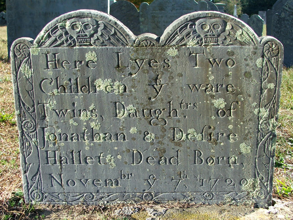 Twin Hallett Gravestone -- Ancient Cemetery Yarmouth Port -- Find A Grave Memorial# 50283151
