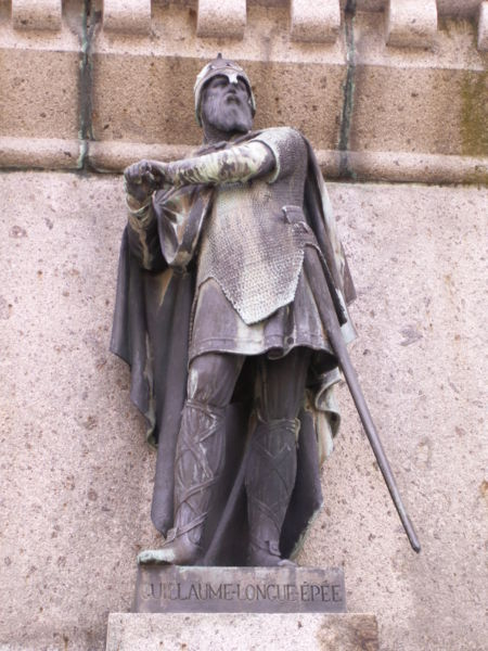 "Statue of William Longsword, part of the ""Six Dukes of Normandy"" series in Falaise."