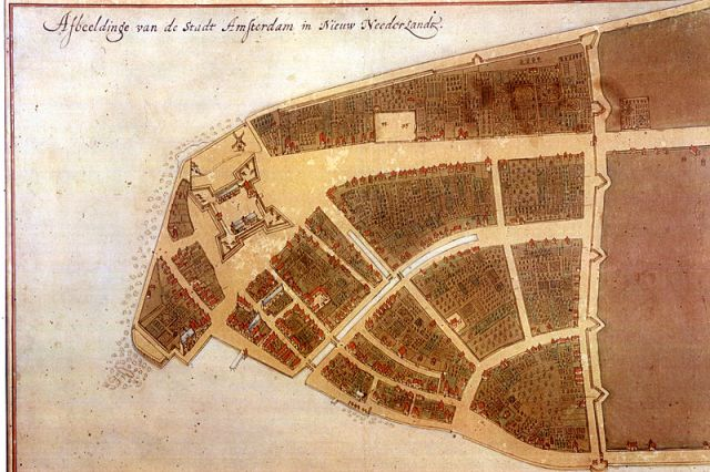 Fort Amsterdam is the large quadrangular structure towards the tip of the island.