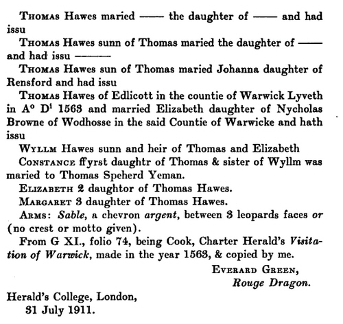 Thomas Hawes Pedigree  -- 1563 Visitation of Warwickshire