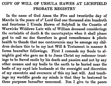 Ursula Hawes Will 1