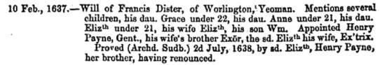 Will of Francis Dister