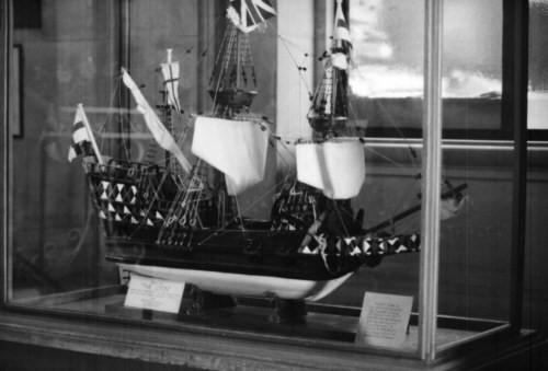 Model of the ship, Lyon, located in the lobby of City Hall, Braintree, UK. The Braintree Company and Stephen Hart and family sailed to New England on her in 1632.